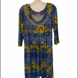 JOYOUS & FREE Yellow and Blue Pullover Dress Small